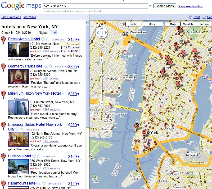 Google Maps Hotel Pricing Feature